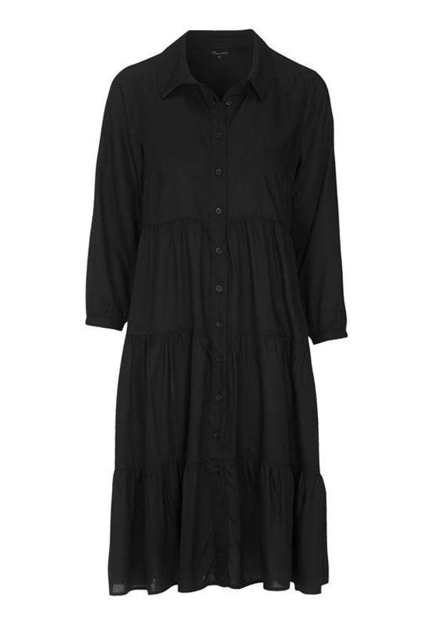 Czarna sukienka Happy Holly szmizjerki, z koszulowym kołnierzykiem