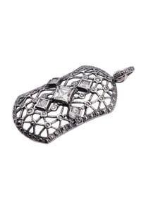 Polcarat Design - Srebrny wisiorek z cyrkonią W 1511. Materiał: srebrne. Kolor: srebrny. Wzór: aplikacja. Kamień szlachetny: cyrkonia