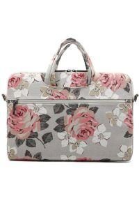 Torba na laptopa CANVASLIFE Briefcase 15-16 cali White Rose. Materiał: materiał. Wzór: aplikacja, kwiaty