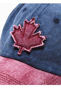 Ombre Clothing - Czapka męska z daszkiem H076 - granatowa/bordowa - uniwersalny. Kolor: czerwony. Materiał: bawełna
