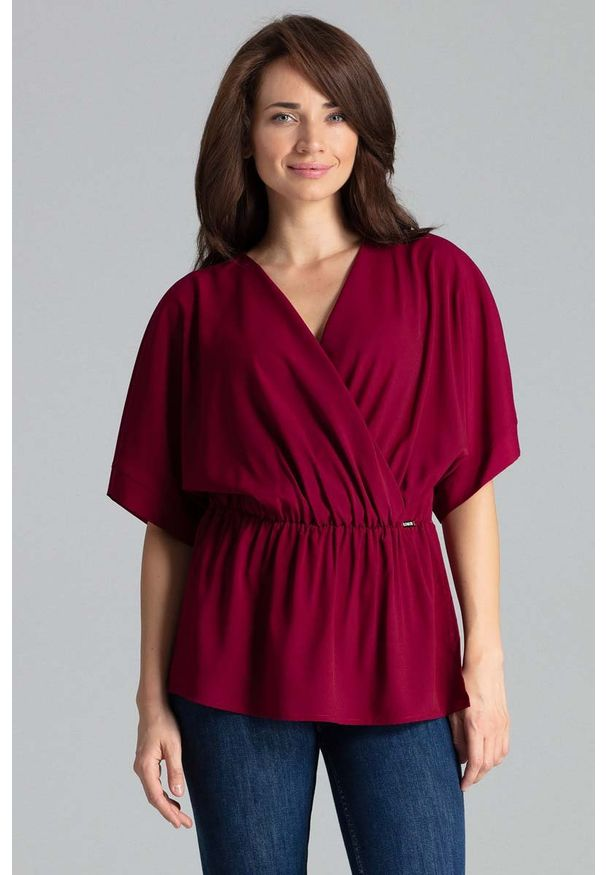 Czerwona bluzka Katrus z kopertowym dekoltem
