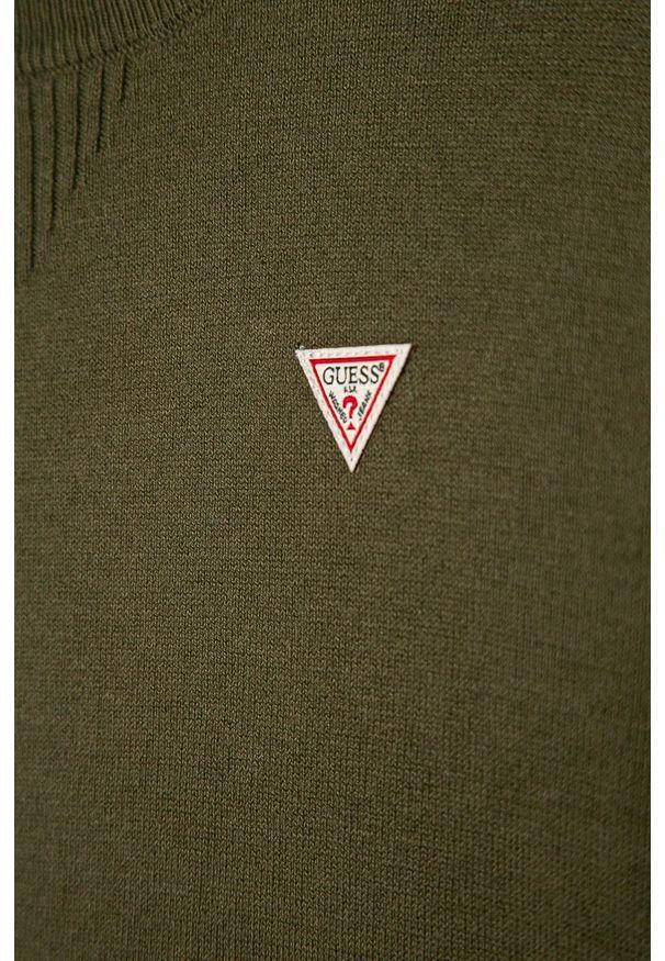 Zielony sweter Guess Jeans na co dzień, z okrągłym kołnierzem, casualowy