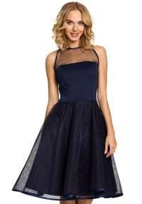 MOE - Wieczorowa rozkloszowana sukienka na wyjątkowe okazje. Materiał: tiul, materiał. Typ sukienki: rozkloszowane. Styl: wizytowy