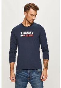 Niebieska koszulka z długim rękawem Tommy Jeans z okrągłym kołnierzem, na co dzień, z nadrukiem