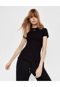OFF-WHITE - Czarny t-shirt z logo. Kolor: czarny. Materiał: jeans, bawełna. Styl: klasyczny, sportowy