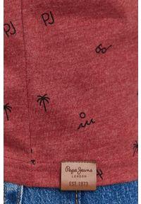Pepe Jeans - T-shirt Lynch. Kolor: czerwony. Materiał: dzianina