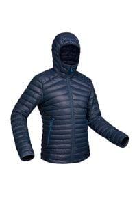 FORCLAZ - Kurtka trekkingowa puchowa - komfort -5°C - TREK 100 - męska. Kolor: niebieski. Materiał: puch