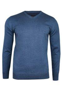 Niebieski sweter MM Classic elegancki, z dekoltem w serek, do pracy