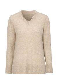 Cellbes Sweter z wełny alpaka i przetworzonego poliestru beżowy female beżowy 62/64. Typ kołnierza: dekolt w serek. Kolor: beżowy. Materiał: wełna, poliester. Styl: klasyczny