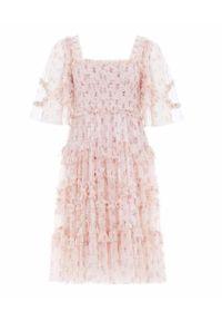 NEEDLE & THREAD - Sukienka mini Bijou Rose Smocked. Typ kołnierza: dekolt kwadratowy. Kolor: różowy, fioletowy, wielokolorowy. Materiał: szyfon, tkanina, materiał. Wzór: kwiaty, nadruk, aplikacja. Typ sukienki: plisowane. Długość: mini