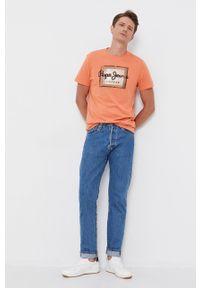 Pepe Jeans - T-shirt bawełniany Wesley. Okazja: na co dzień. Kolor: pomarańczowy. Materiał: bawełna. Wzór: nadruk. Styl: casual