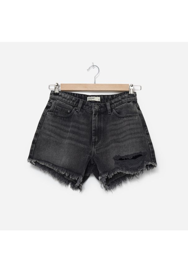 House - Szorty jeansowe z przetarciami - Szary. Kolor: szary. Materiał: jeans
