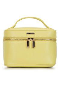 Wittchen - Damska kosmetyczka kuferek mała. Kolor: żółty. Materiał: skóra ekologiczna. Wzór: aplikacja, kolorowy #1