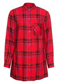 Długa bluzka w kratę bonprix truskawkowy w kratę. Kolor: czerwony. Długość: długie