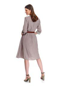 Szara sukienka TOP SECRET na wiosnę, do pracy, midi, szmizjerki