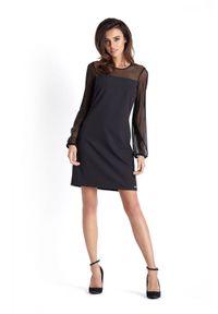 IVON - Wizytowa Sukienka z Tiulowym Rękawem - Czarna. Kolor: czarny. Materiał: tiul. Styl: wizytowy