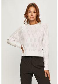 Biała bluza DKNY casualowa, bez kaptura, na co dzień, raglanowy rękaw