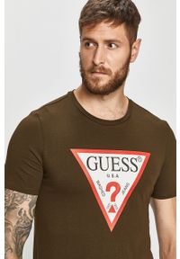 Zielony t-shirt Guess Jeans casualowy, z nadrukiem, na co dzień