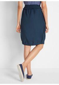 Spódnica bawełniana bombka w długości do kolan, z paskiem przeszytym cienkimi gumkami bonprix ciemnoniebieski. Kolor: niebieski. Materiał: bawełna. Długość: do kolan
