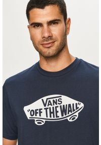 Vans - T-shirt. Kolor: niebieski. Wzór: nadruk