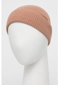 Sisley - Czapka z domieszką kaszmiru. Kolor: różowy. Materiał: kaszmir