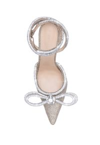 MACH&MACH - Złote szpilki z kryształową kokardą Double Bow. Zapięcie: klamry. Kolor: złoty. Obcas: na szpilce. Styl: elegancki. Wysokość obcasa: średni