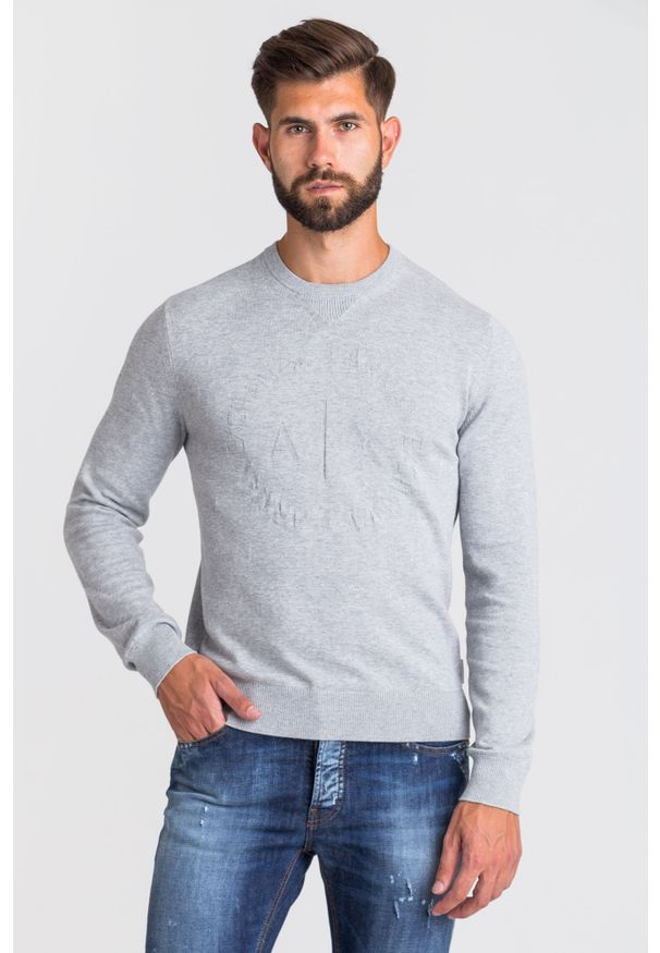 Szary sweter Armani Exchange z okrągłym kołnierzem
