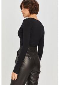 Czarna bluzka Answear Lab z długim rękawem, wakacyjna, długa