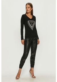 Czarny sweter Guess Jeans casualowy, z aplikacjami, z długim rękawem, na co dzień