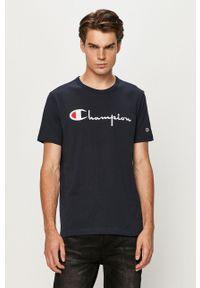 Champion - T-shirt. Okazja: na co dzień. Kolor: niebieski. Materiał: dzianina. Wzór: aplikacja. Styl: casual
