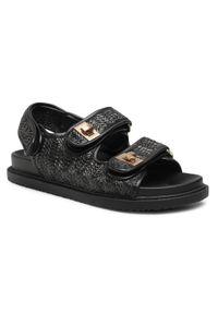 Czarne sandały Jenny Fairy z aplikacjami, casualowe
