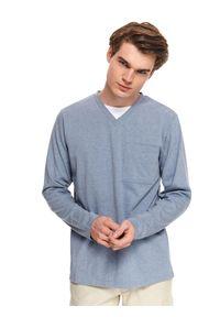 Niebieska bluza TOP SECRET z długim rękawem, sportowa, w kolorowe wzory, z dekoltem w serek