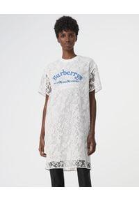 Biała sukienka mini Burberry dopasowana, z aplikacjami