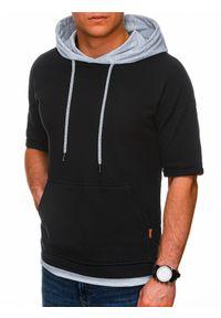 Ombre Clothing - Bluza męska z krótkim rękawem B1221 - czarna/szara melanż - XXL. Okazja: na co dzień. Kolor: szary. Materiał: elastan, bawełna. Długość rękawa: krótki rękaw. Długość: krótkie. Wzór: melanż. Styl: klasyczny, sportowy, casual