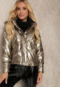 Renee - Brązowa Kurtka Iomamia. Kolor: brązowy. Długość: długie. Wzór: aplikacja