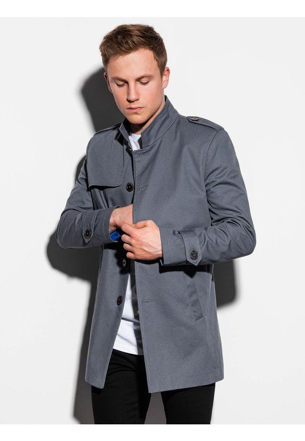 Szary płaszcz Ombre Clothing na wiosnę, ze stójką, elegancki