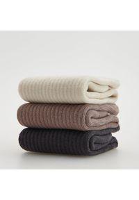 Reserved - Skarpety z bawełną 3 pack - Kremowy. Kolor: kremowy. Materiał: bawełna