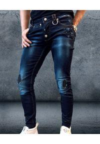 GUNS & TUXEDOS - Granatowe spodnie Stubborn. Kolor: niebieski. Wzór: aplikacja. Styl: elegancki