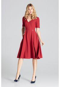 Czerwona sukienka Figl midi, na imprezę