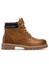 Jack & Jones - Trapery JACK&JONES - Jrstatton 12161012 Honey. Kolor: brązowy. Materiał: skóra. Wzór: aplikacja