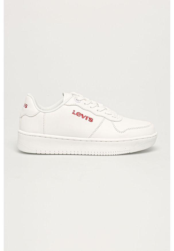 Białe buty sportowe Levi's® na spotkanie biznesowe, z cholewką, w kolorowe wzory, z okrągłym noskiem