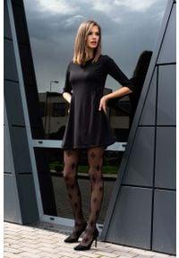 Merribel - Czarna Lekko Rozkloszowana Sukienka z Rękawem 1/2. Kolor: czarny. Materiał: poliester, elastan