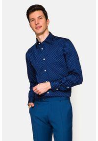 Lancerto - Koszula Granatowa z Nadrukiem Natalie. Kolor: niebieski. Materiał: jeans, bawełna, wełna, tkanina, włókno. Wzór: nadruk