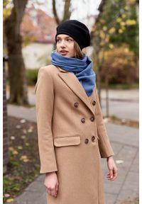 Marie Zélie - Płaszcz wełniany Debora beżowy – flausz. Kolor: beżowy. Materiał: wełna. Wzór: motyw zwierzęcy, ze splotem. Sezon: zima. Styl: klasyczny #7