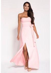 Dursi - Różowa Wieczorowa Maxi Sukienka z Odkrytymi Ramionami. Kolor: różowy. Materiał: elastan, poliester. Typ sukienki: z odkrytymi ramionami. Styl: wizytowy. Długość: maxi
