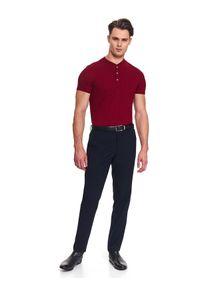 Czerwony t-shirt TOP SECRET elegancki, na co dzień