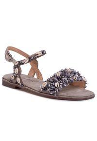 Szare sandały Alma En Pena na co dzień, z aplikacjami, casualowe
