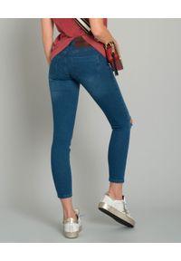 Niebieskie jeansy ONETEASPOON z aplikacjami, z podwyższonym stanem