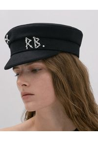 RUSLAN BAGINSKIY - Czarny kaszkiet z kryształkami. Kolor: czarny. Materiał: wełna, tkanina, materiał, bawełna