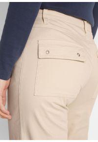 Spodnie ze stretchem 7/8 bonprix beżowo-szary. Kolor: szary